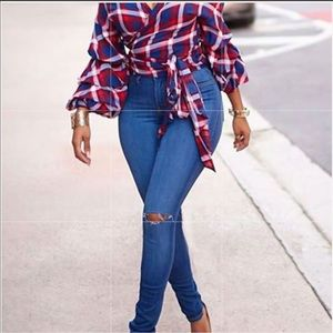 Frilly plaid top ♥️